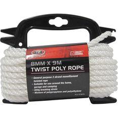 SCA 3 Strand Twist Poly Rope - 8mm X 9m, , scaau_hi-res
