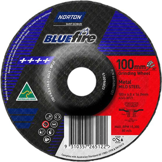 Norton Grinding Disc - 100mm  x  6mm  x  16mm, , scaau_hi-res