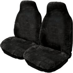 Gold Cloud Sheepskin Seat Covers - Slate, Built-in Headrests, Size 60, Front Pair, Airbag Compatible Black, Black, scaau_hi-res