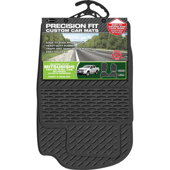 Precision Fit Custom Rubber Floor Mats - Suits Mitsubishi Triton MQ/MN Dual Cab 2015+, Black, Set of 3, , scaau_hi-res