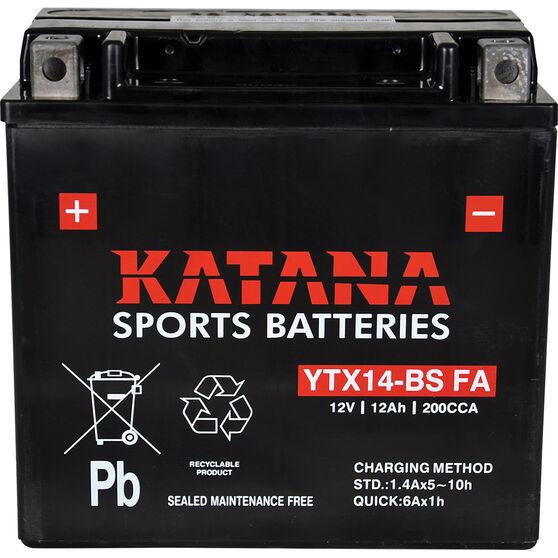 Katana Powersports Small Engine Battery YTX14-BS FA, , scaau_hi-res