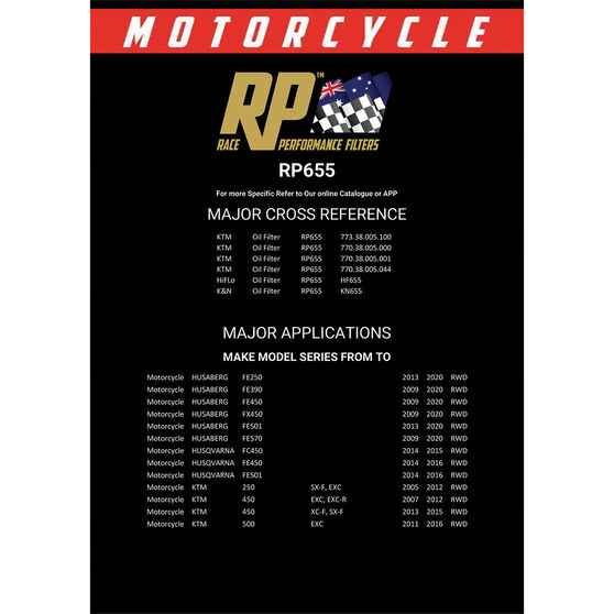 Race Performance Motorcycle Oil Filter - RP655, , scaau_hi-res