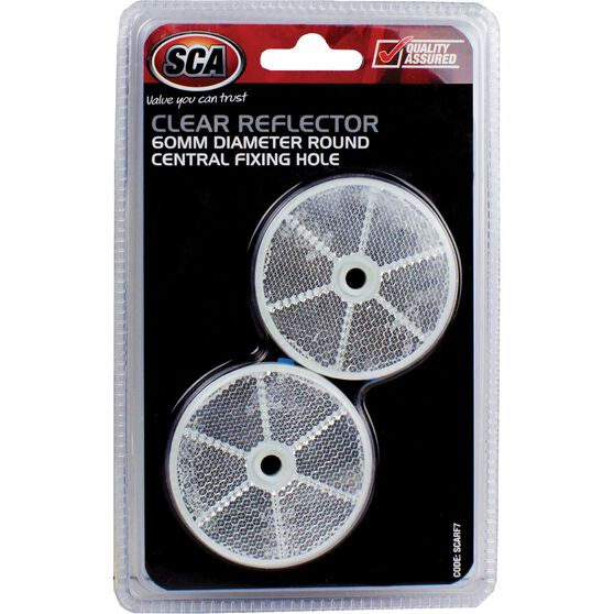 SCA Reflector - Clear, 60mm, Round, 2 Pack, , scaau_hi-res