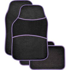 Sports Floor Mats - Carpet, Black / Purple, Set of 4, , scaau_hi-res