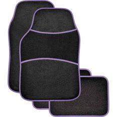 Sports Floor Mats - Carpet, Black / Purple, Set of 4, , scaau_hi-res