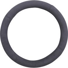 Suede Steering Wheel Cover - Suede, Charcoal, 380mm diameter, , scaau_hi-res