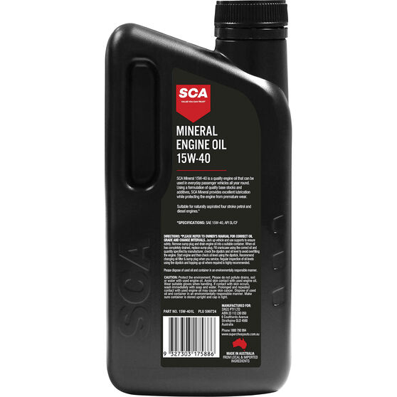 SCA Mineral Engine Oil 15W-40 1 Litre, , scaau_hi-res