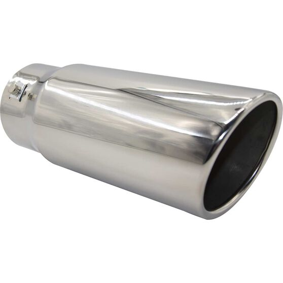 Calibre Stainless Steel Exhaust Tip - Angle Cut Rolled Tip suits 52mm to 76mm, , scaau_hi-res