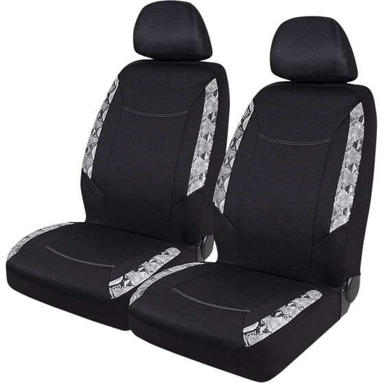 SCA Snake Skin Print Seat Cover Pack - Black, Adjustable Headrests, Size 30 Front Pair Airbag Compatible, Steering Wheel, , scaau_hi-res