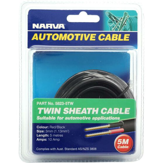 Narva Automotive Cable - Twin Sheath, 5 Metres, 10 AMP, 3mm, , scaau_hi-res