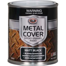 SCA Metal Cover Rust Paint - Enamel, Matt Black, 500mL, , scaau_hi-res