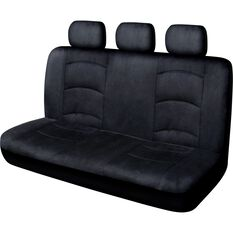 Cloud Premium Suede Seat Covers - Black Adjustable Headrests Size 06H Rear Seat, , scaau_hi-res