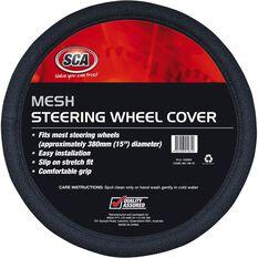 SCA Steering Wheel Cover - Mesh, Black, 380mm diameter, , scaau_hi-res