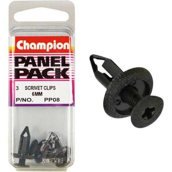Champion Scrivet Clips - 6mm, P08, Panel Pack, , scaau_hi-res