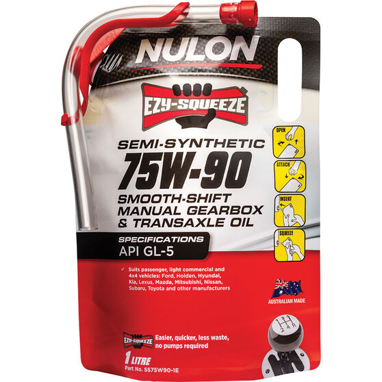 Nulon EZY-SQUEEZE Smooth Shift Manual Gearbox & Transaxle Oil 75W-90 1 Litre, , scaau_hi-res
