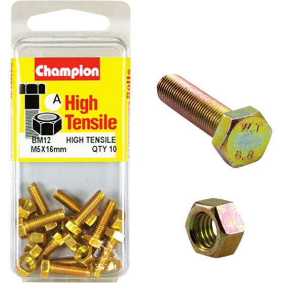 Champion High Tensile Bolts and Nuts - M5 X 16, , scaau_hi-res
