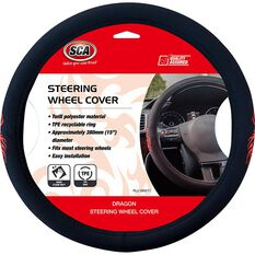 SCA Dragon Steering Wheel Cover - Twill Polyester, Black / Red, 380mm diameter, , scaau_hi-res