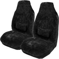 Platinum Cloud Sheepskin Seat Covers - Black, Built-in Headrests, Size 60, Front Pair, Airbag Compatible, Black, scaau_hi-res