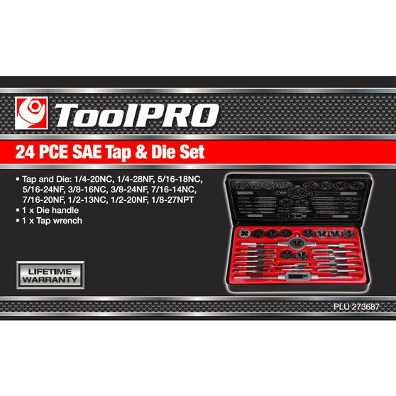 ToolPro Tap and Die Set - Imperial, 24 Piece, , scaau_hi-res