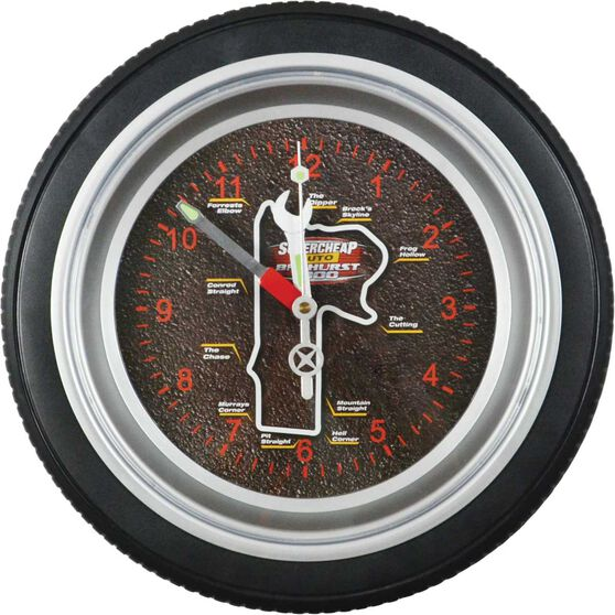 Bathurst 1000 - Tyre shaped wall clock, 14 inch, , scaau_hi-res
