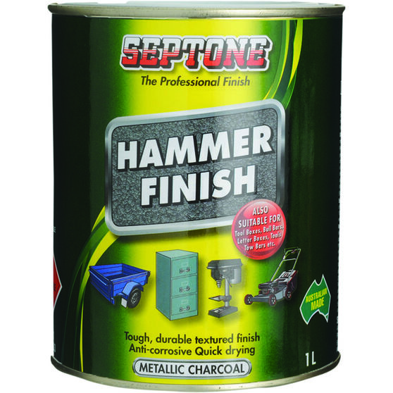 Septone Paint Hammer Finish - Metallic Charcoal, 1 Litre, , scaau_hi-res