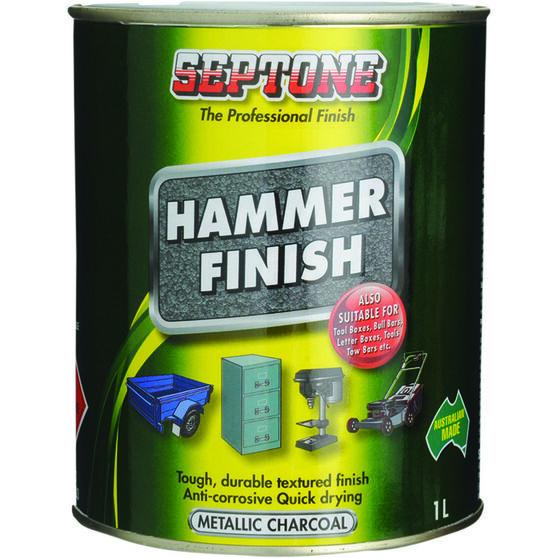 Septone Paint Hammer Finish - Metallic Charcoal, 1 Litre, , scaau_hi-res