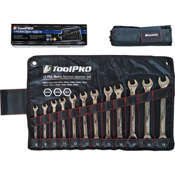 ToolPRO Spanner Set - Ratchet, 12 Piece, Metric, , scaau_hi-res
