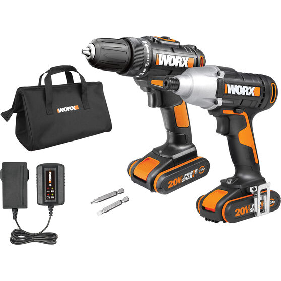 WORX Drill & Impact Driver Kit - 20V, 10mm, , scaau_hi-res