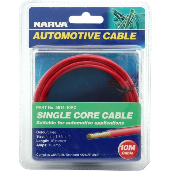 Narva Automotive Cable - Single Core, 10 Metres, 15 AMP, 4mm, , scaau_hi-res