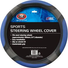 Steering Wheel Cover - Sports, Blue, 380mm diameter, , scaau_hi-res