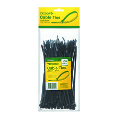 Tridon Cable Ties - 200mm x 5mm, 100 Pack, Black, , scaau_hi-res
