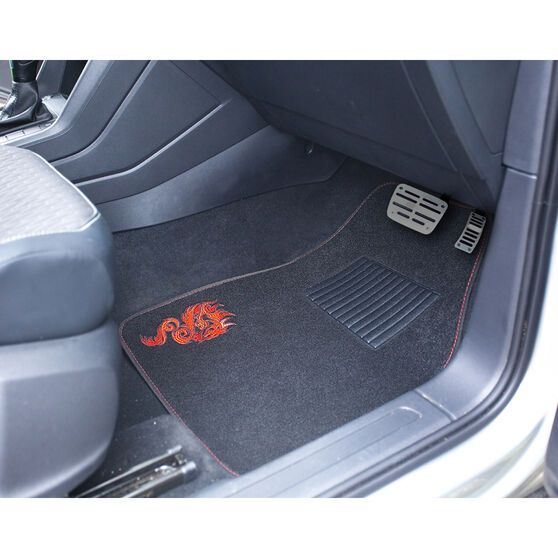 SCA Dragon Floor Mats Carpet Black/Red Set of 4, , scaau_hi-res