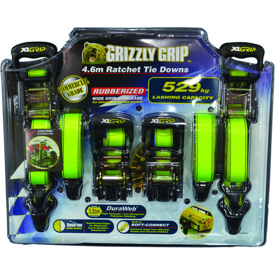 Gripwell Grizzly Grip Ratchet Tie Down - 4.6m, 529kg, 4 Pack, , scaau_hi-res