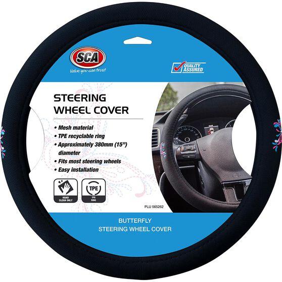 Butterfly Steering Wheel Cover - Mesh, Pink / Blue, 380mm diameter, , scaau_hi-res