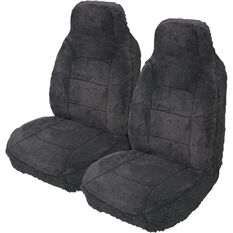 Silver Cloud Sheepskin Seat Covers - Black, Built-in Headrests, Size 60, Front Pair, Airbag Compatible, Slate, scaau_hi-res