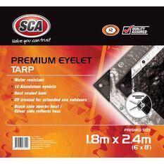 SCA Premium Poly Tarp - 1.8m X 2.4m (6 X 8), 185GSM, Silver, , scaau_hi-res