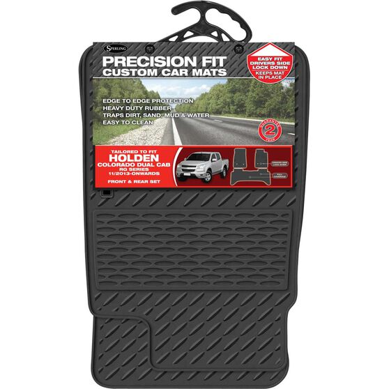 Precision Fit Custom Rubber Floor Mats - Suits Holden Colorado RG Dual Cab 2014+, Black, Set of 3, , scaau_hi-res
