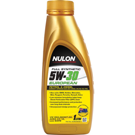 Nulon Full Synthetic Euro Engine Oil - 5W-30 1 Litre, , scaau_hi-res