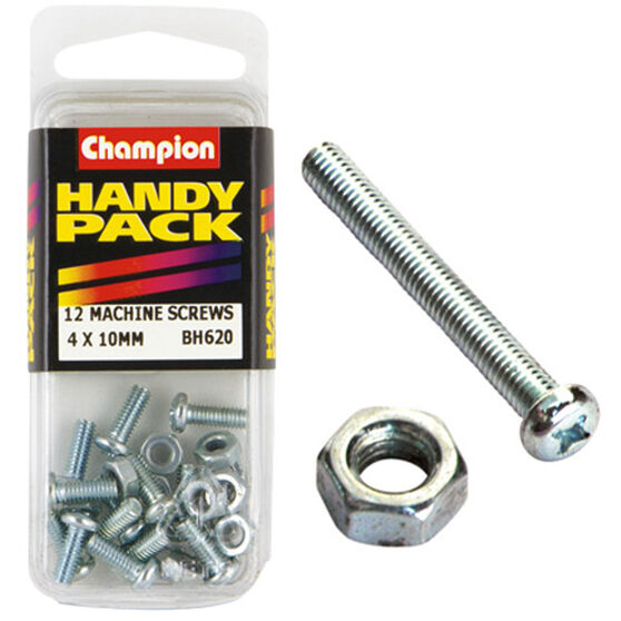 Champion Machined Screws / Nuts - 4mm X 10mm, BH620, Handy Pack, , scaau_hi-res