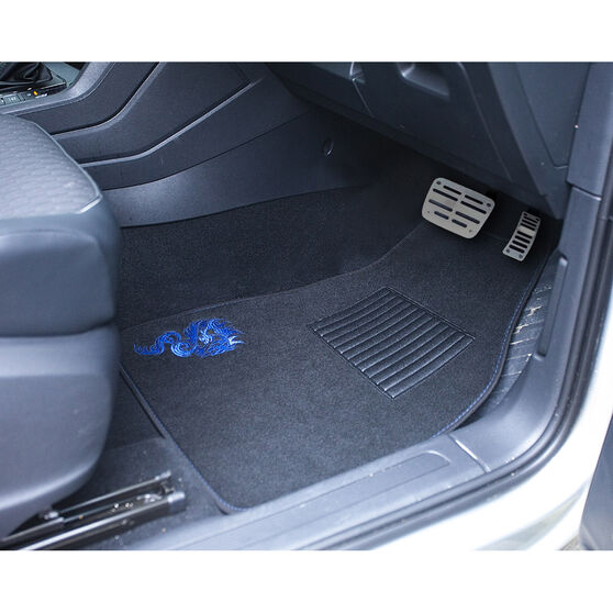 SCA Dragon Floor Mats Carpet Black/Blue Set of 4, , scaau_hi-res