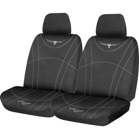 R.M. Williams Canvas Seat Cover - Black, Adjustable Headrests, Size 30, , scaau_hi-res