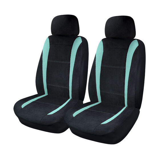 Sports Velour and Mesh Seat Covers - Aqua/Black, Adjustable Headrests, , scaau_hi-res