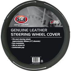 SCA Steering Wheel Cover - Leather, Grey, 380mm diameter, , scaau_hi-res