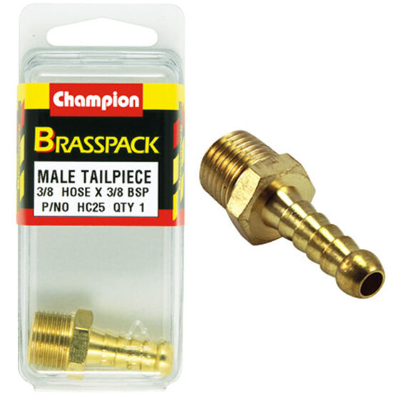 Champion Male Hose Barb - 3 / 8inch X 3 / 8inch, Brass, , scaau_hi-res