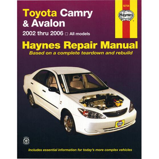 Haynes Car Manual For Toyota Camry / Avalon 2002-2006 - 92708, , scaau_hi-res