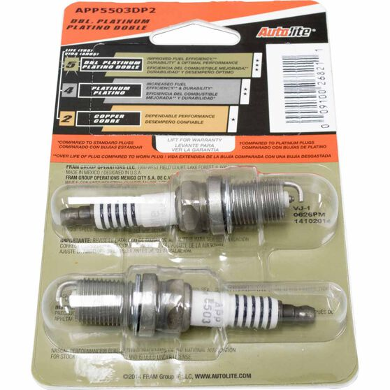 Autolite Double Platinum Spark Plug - APP5503DP2, 2 Pack, , scaau_hi-res