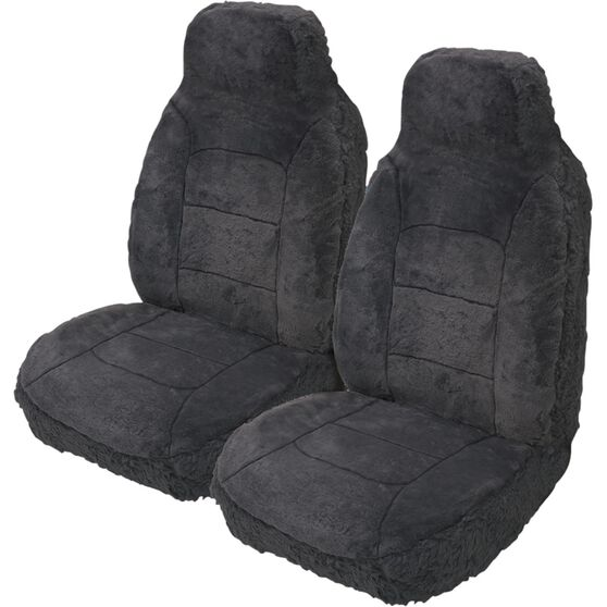 Silver Cloud Sheepskin Seat Covers - Slate, Built-in Headrests, Size 60, Front Pair,  Airbag Compatible Slate, Slate, scaau_hi-res
