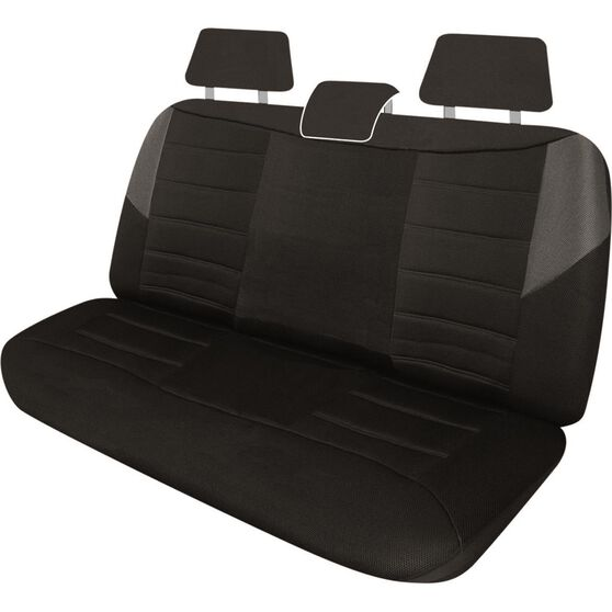 Carbon Mesh Seat Covers - Black and Grey Adjustable Headrests Size 06H Rear Seat, , scaau_hi-res