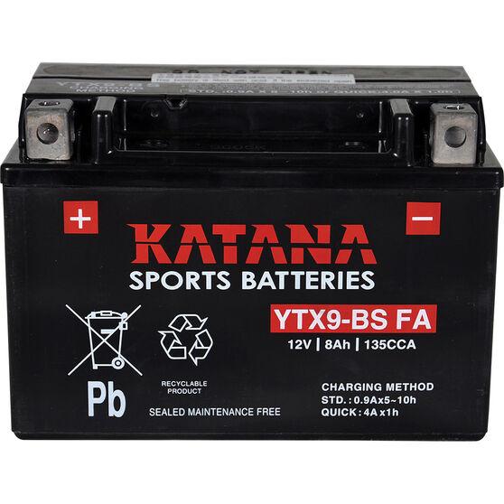 Katana Powersports Small Engine Battery YTX9-BS FA, , scaau_hi-res