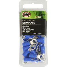 SCA Electrical Terminals - Ring (Eye), Blue, 5.0mm, 25 Pack, , scaau_hi-res
